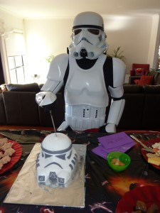 Stormtrooper cutting the cake